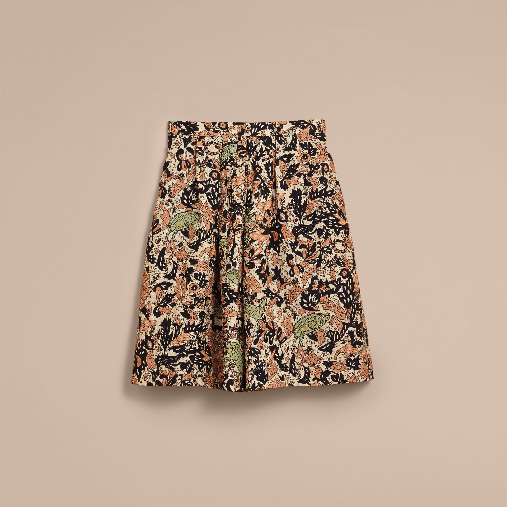 Beasts Print Technical Silk Voluminous Skirt in Antique Taupe Pink - Women | Burberry United Kingdom - gallery image 4