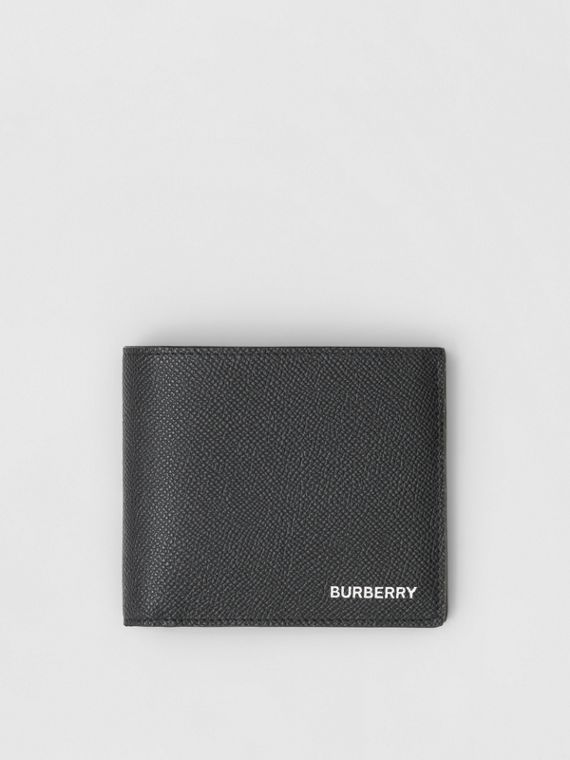 Grainy Leather Bifold Wallet with ID Card Case in Black