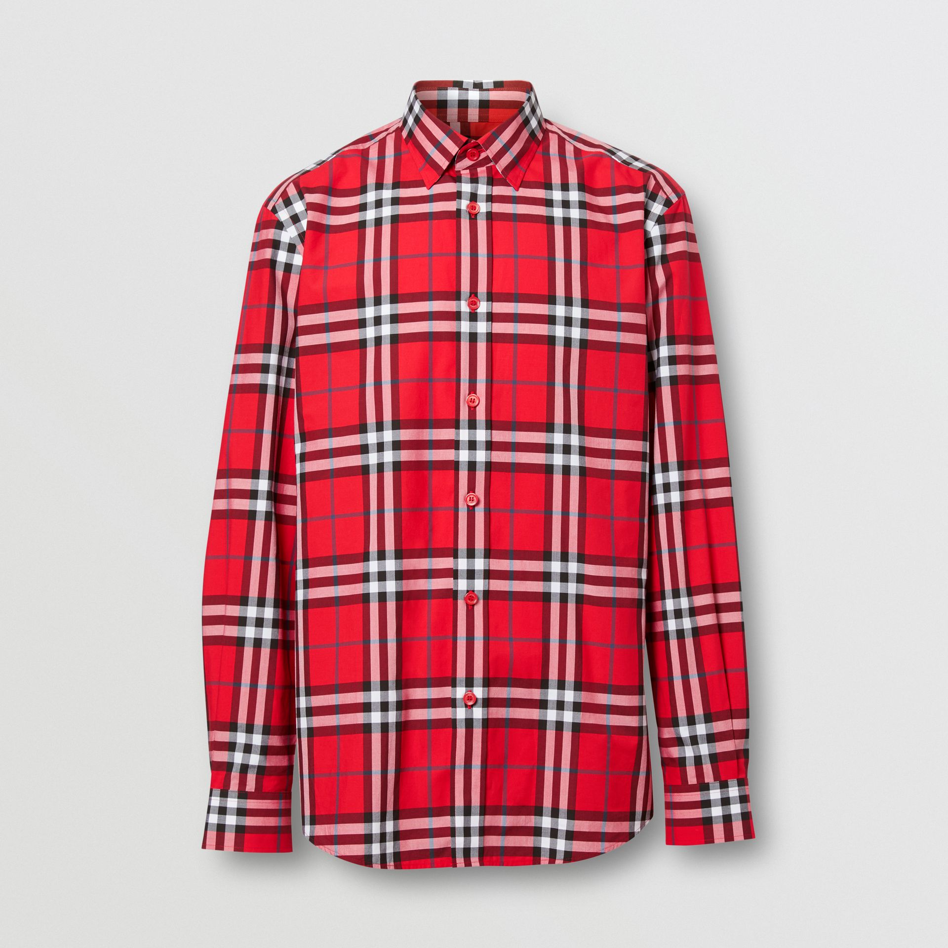 Check Cotton Poplin Shirt in Bright Red - Men | Burberry Hong Kong S.A.R - gallery image 3