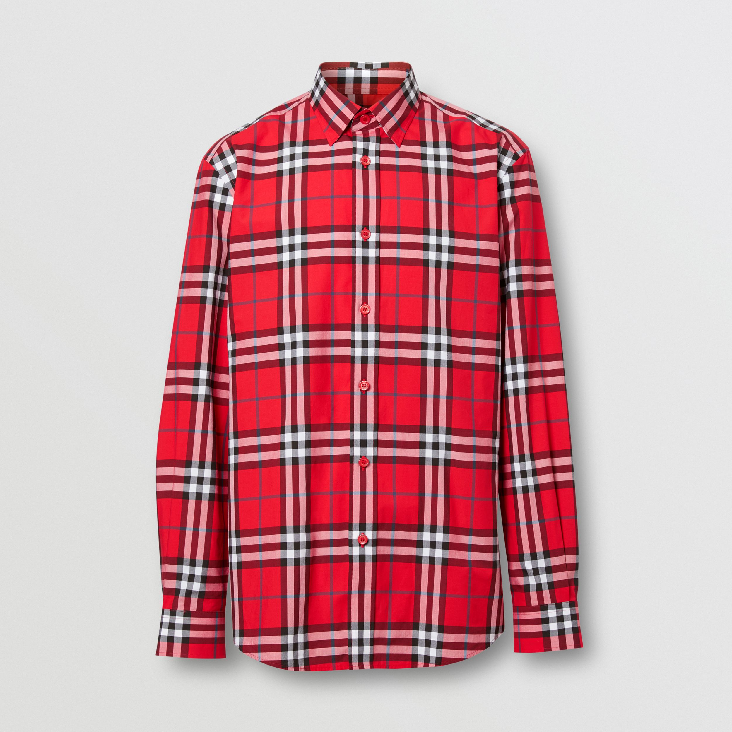Check Cotton Poplin Shirt in Bright Red - Men | Burberry - 4