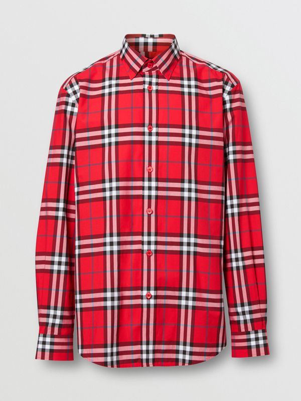 Check Cotton Poplin Shirt in Bright Red - Men | Burberry - cell image 3