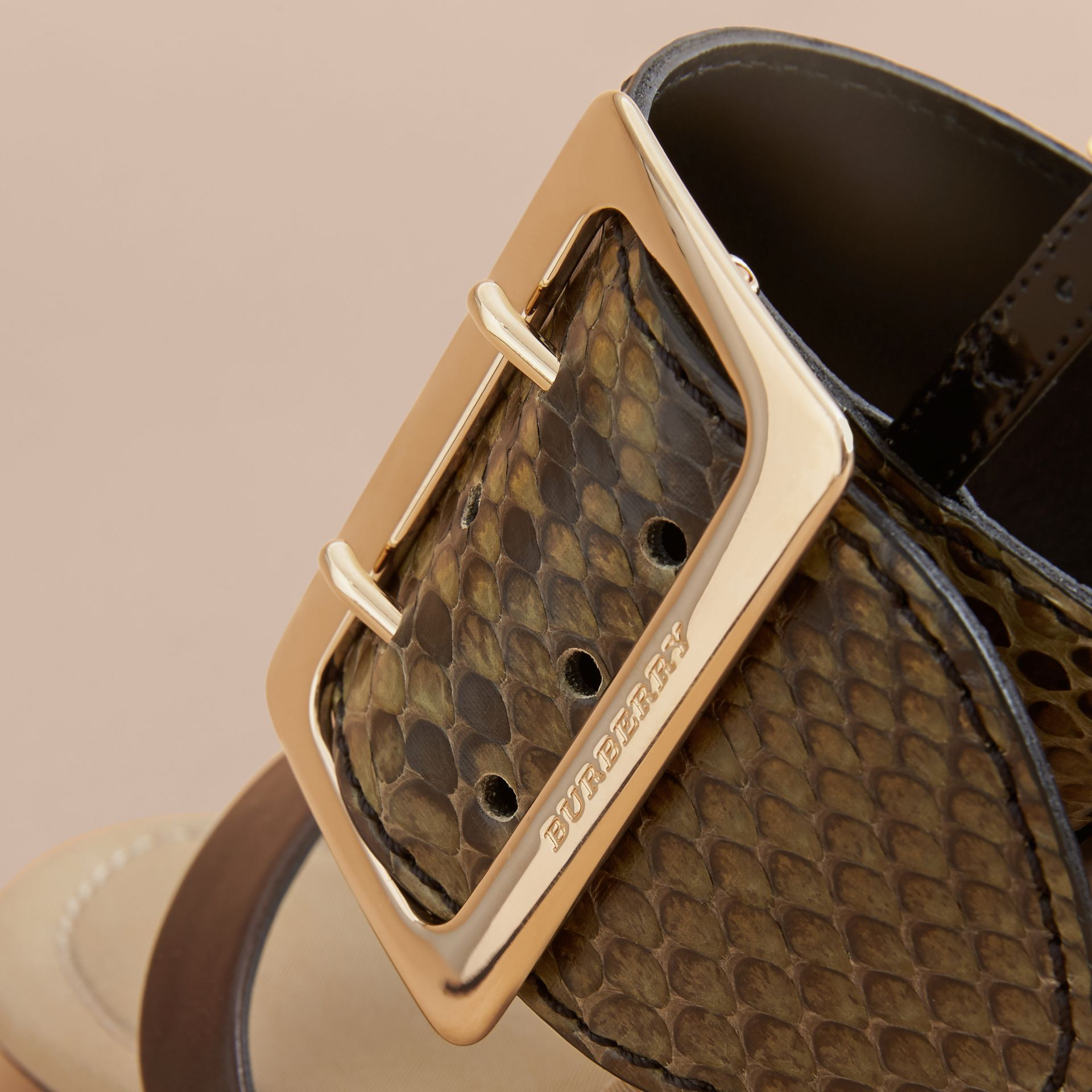 Python and Leather Sandals with Buckle Detail - Women | Burberry - gallery image 2