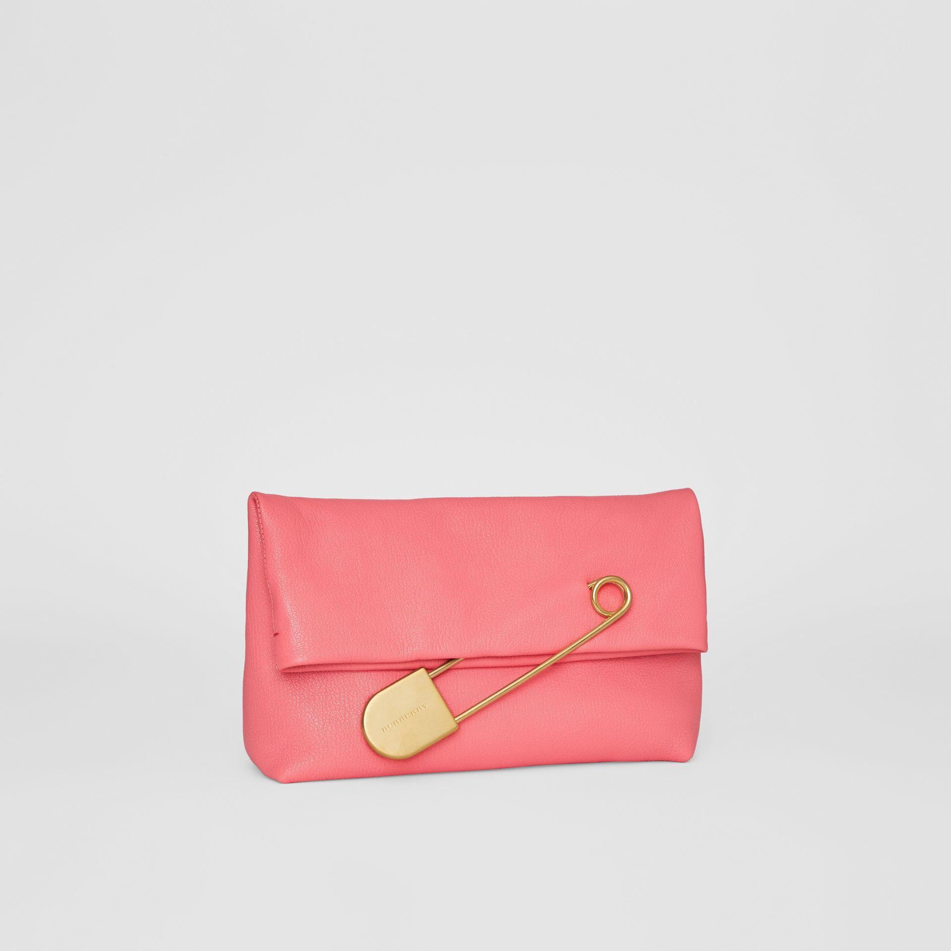 The Medium Pin Clutch in Leather in Bright Coral Pink - Women | Burberry United States - gallery image 6