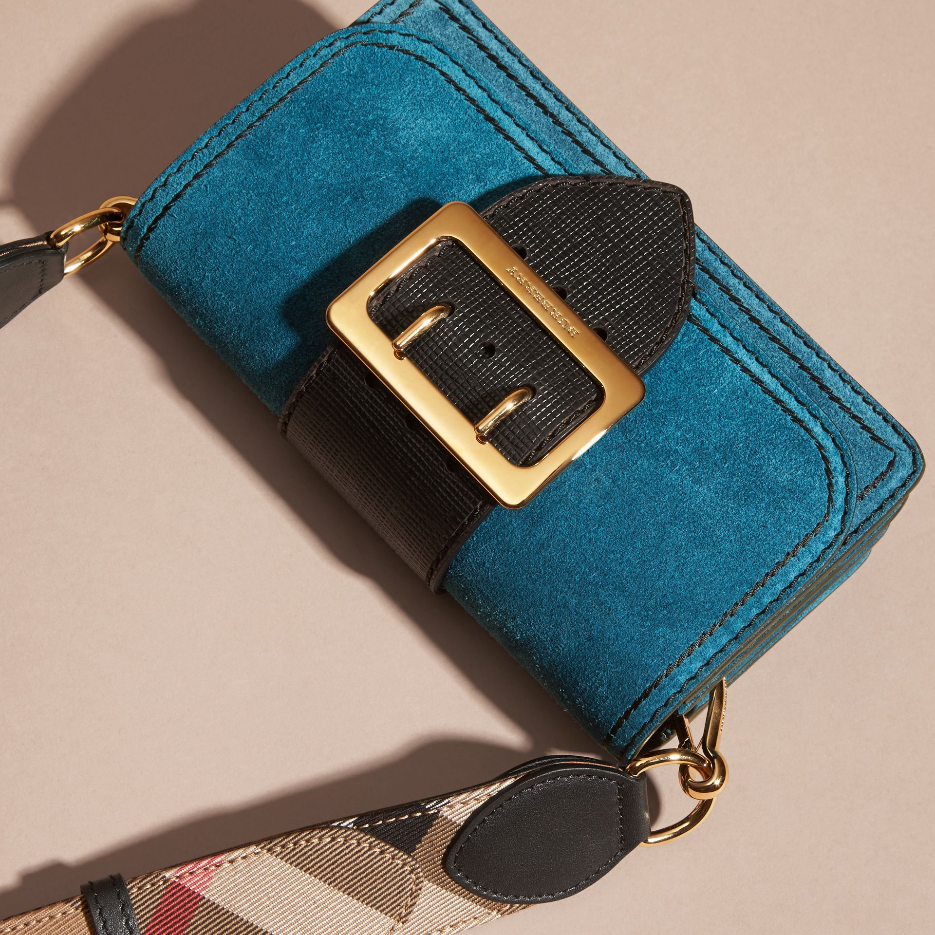 The Small Buckle Bag in Suede with Topstitching in Peacock Blue /black - gallery image 8