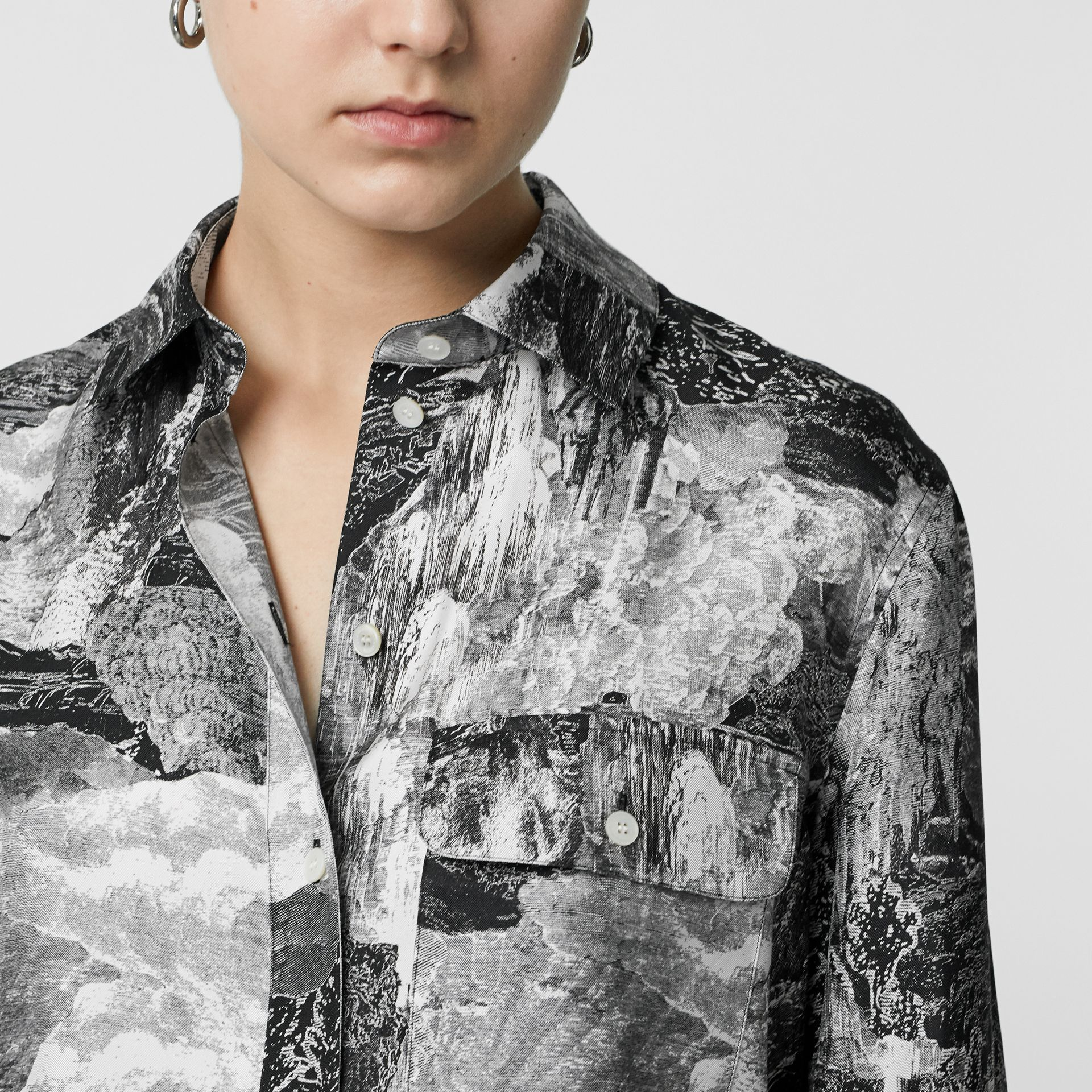 Dreamscape Print Silk Longline Shirt in Black - Women | Burberry Canada - gallery image 1