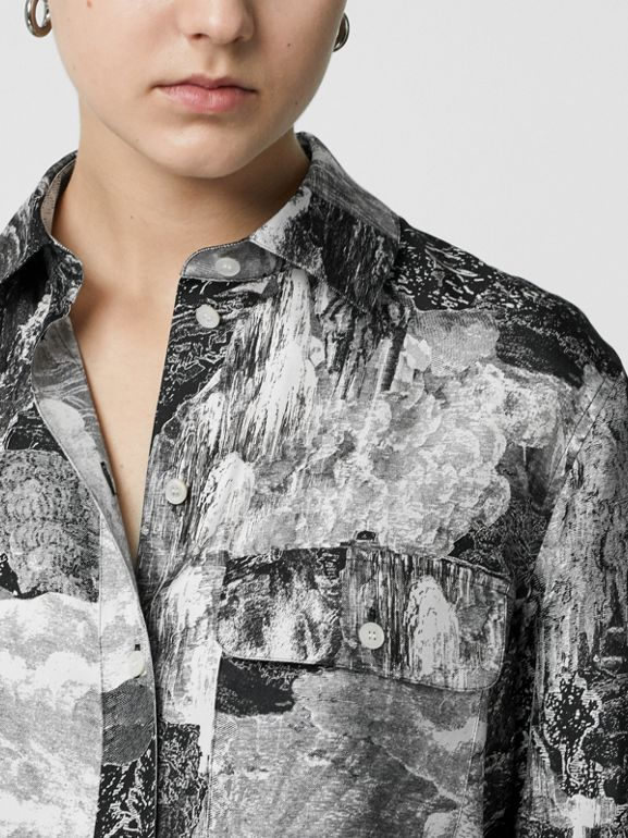 Dreamscape Print Silk Longline Shirt in Black - Women | Burberry Hong Kong - cell image 1