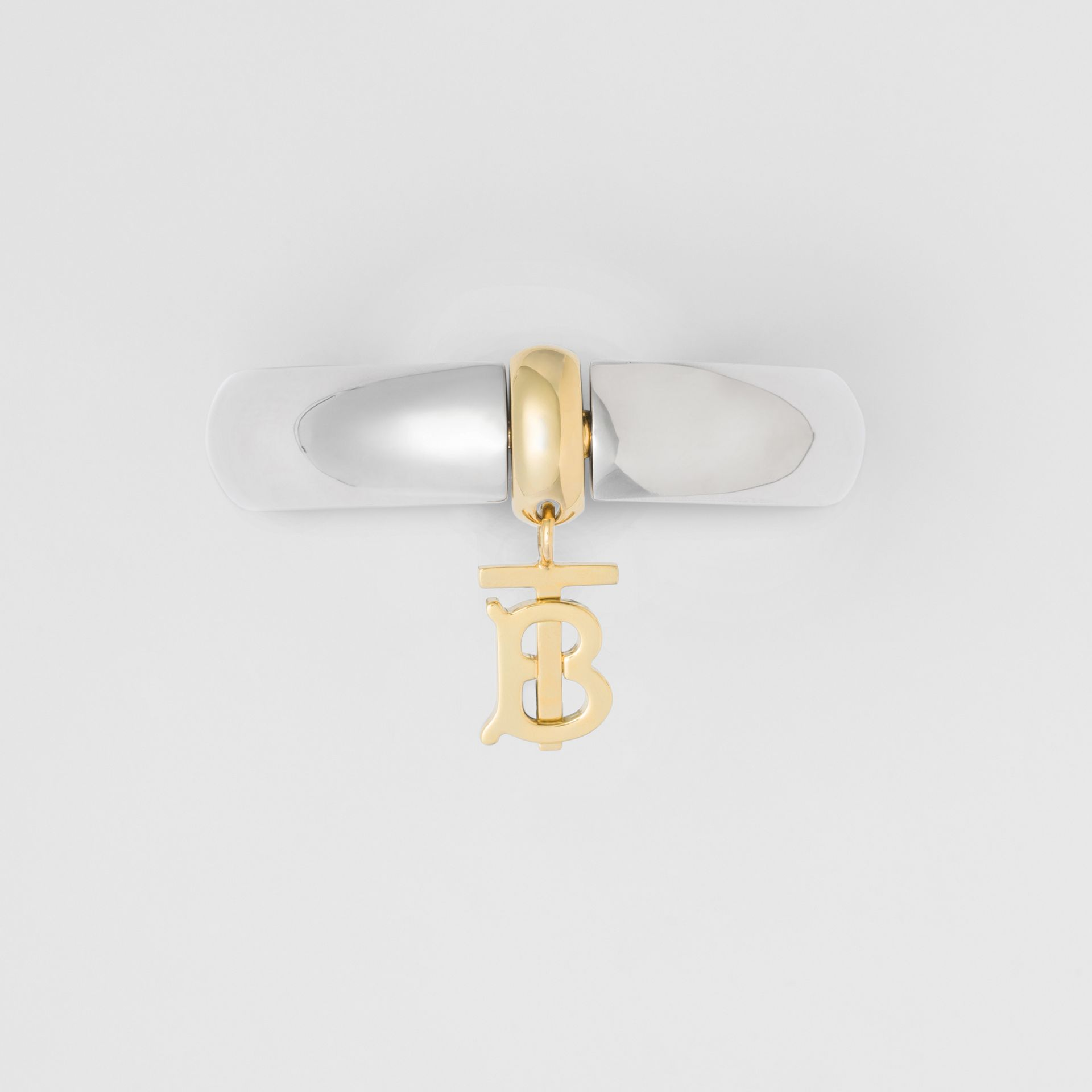 Palladium-Plated Monogram Motif Bangle in Palladio - Women | Burberry - gallery image 3