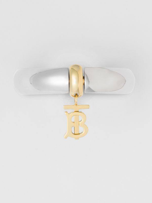 Palladium-Plated Monogram Motif Bangle in Palladio - Women | Burberry - cell image 3