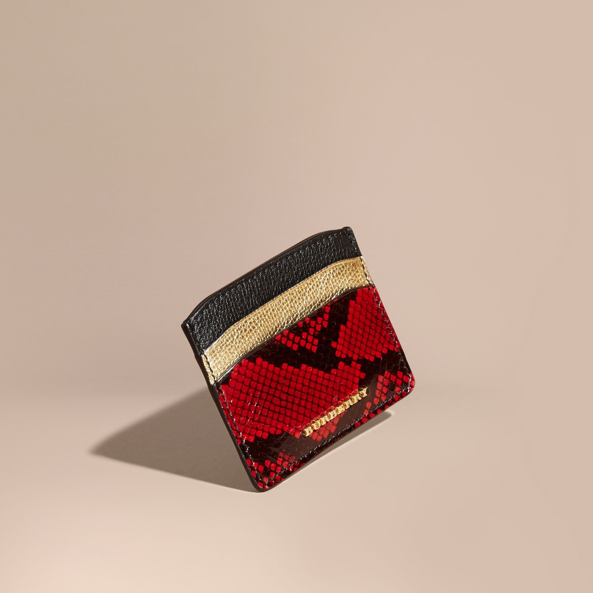 Colour Block Leather and Snakeskin Card Case in Black/gold - gallery image 1