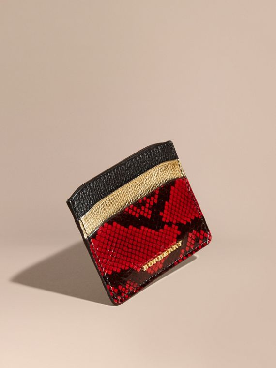Colour Block Leather and Snakeskin Card Case Black/gold