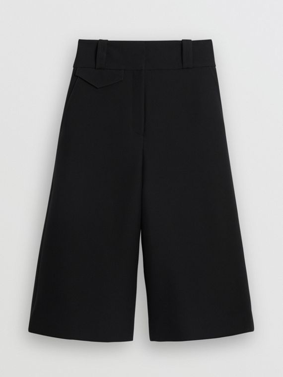 Wool Silk Wide-leg Culottes in Black