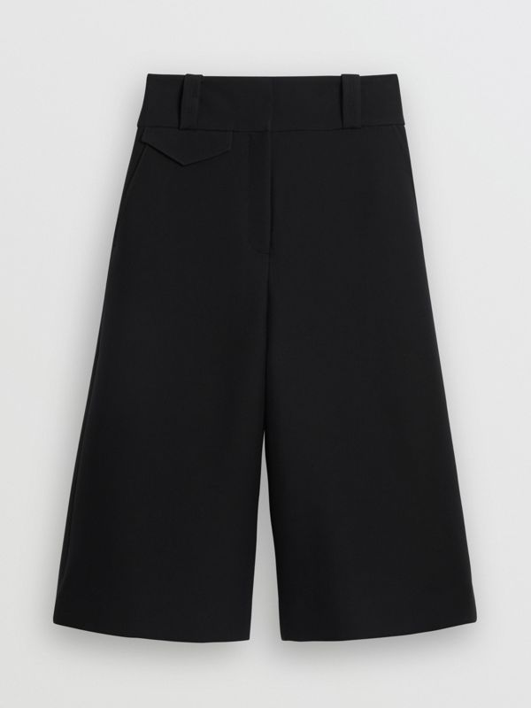 Wool Silk Wide-leg Culottes in Black - Women | Burberry United Kingdom - cell image 3