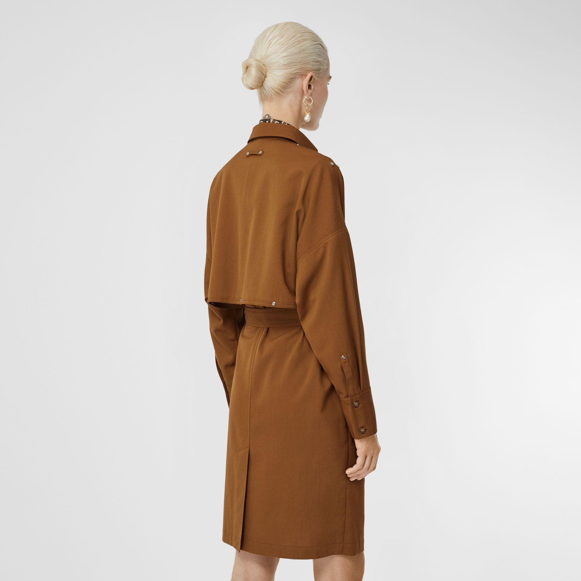 Wool Twill Blend Belted Shirt Dress in Maple - Women | Burberry United Kingdom - gallery image 2