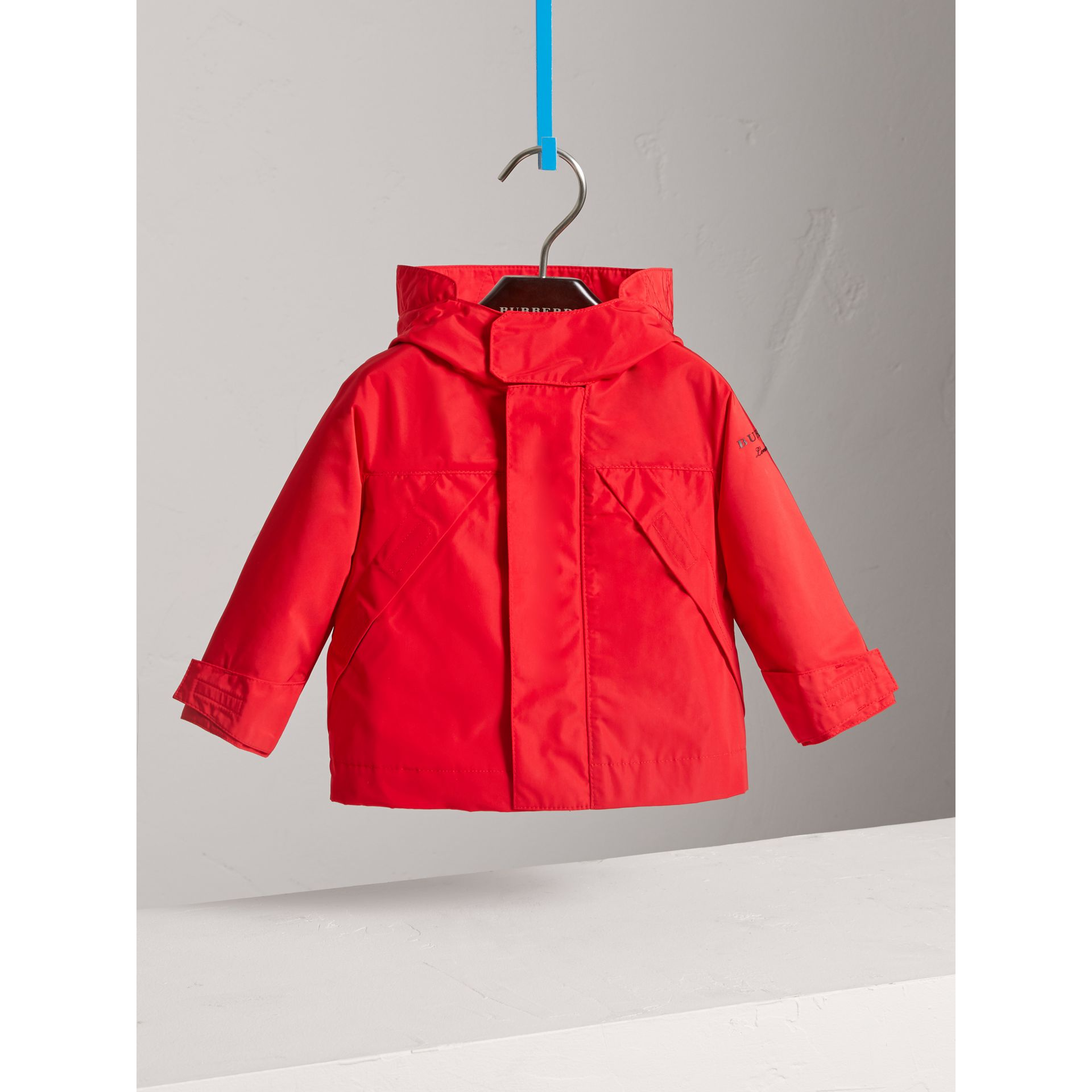 Shape Memory Taffeta Hooded Jacket in Bright Orange Red | Burberry - gallery image 2