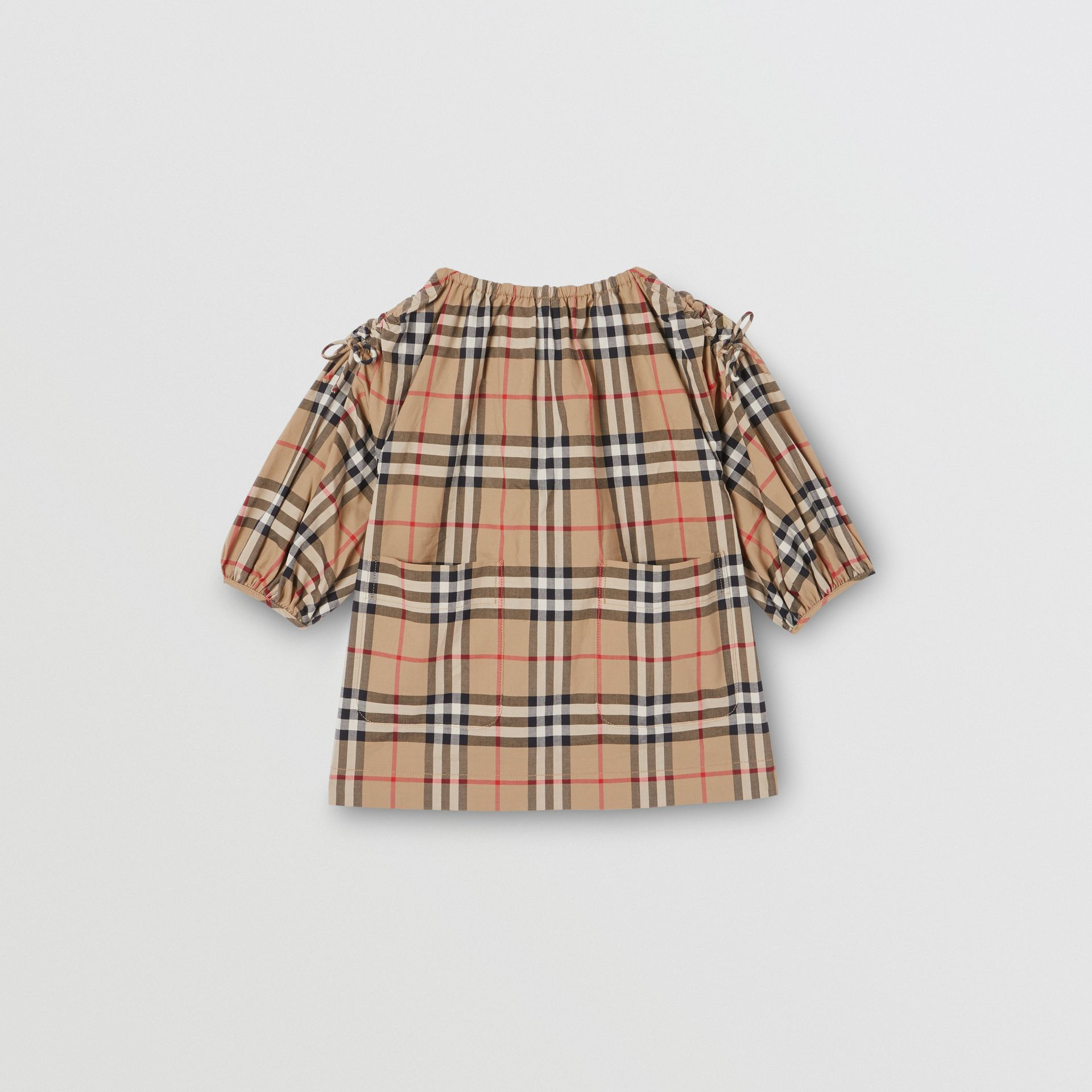 Gathered Sleeve Vintage Check Cotton Dress in Archive Beige - Children | Burberry - gallery image 0