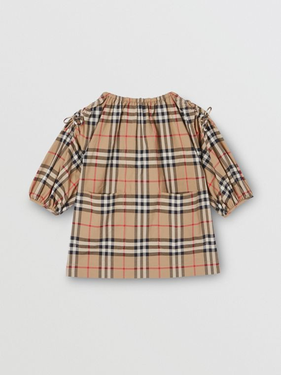 Gathered Sleeve Vintage Check Cotton Dress in Archive Beige