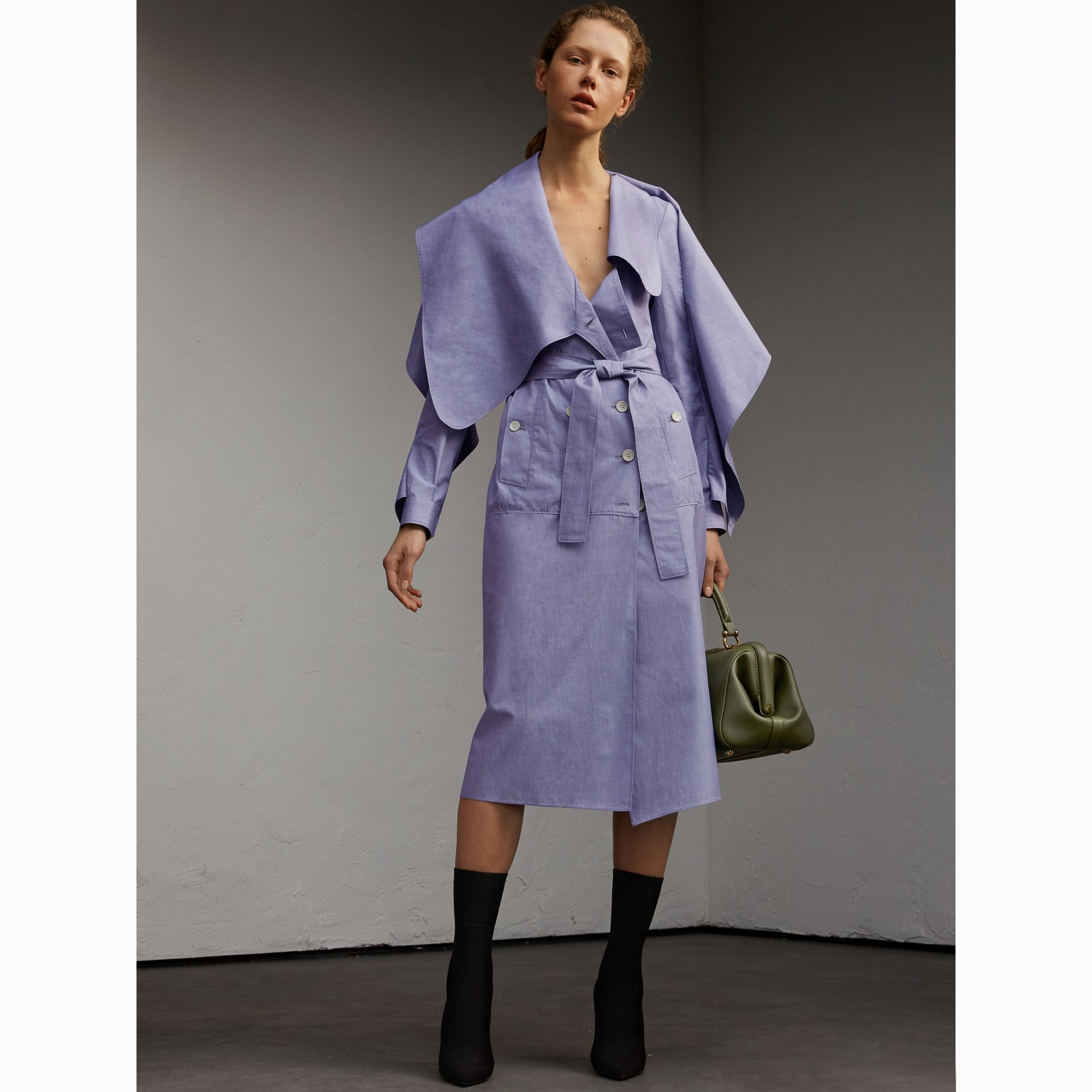 Cotton Chambray Sculptural Wrap Dress - Women | Burberry - gallery image 6