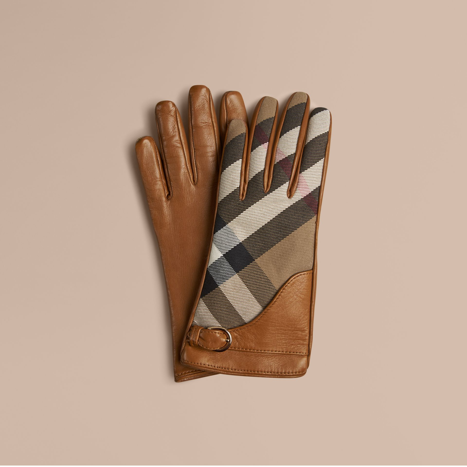 Saddle brown Leather and House Check Gloves Saddle Brown - gallery image 1