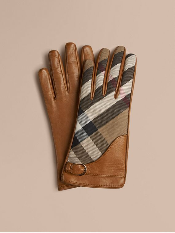 Leather and House Check Gloves Saddle Brown