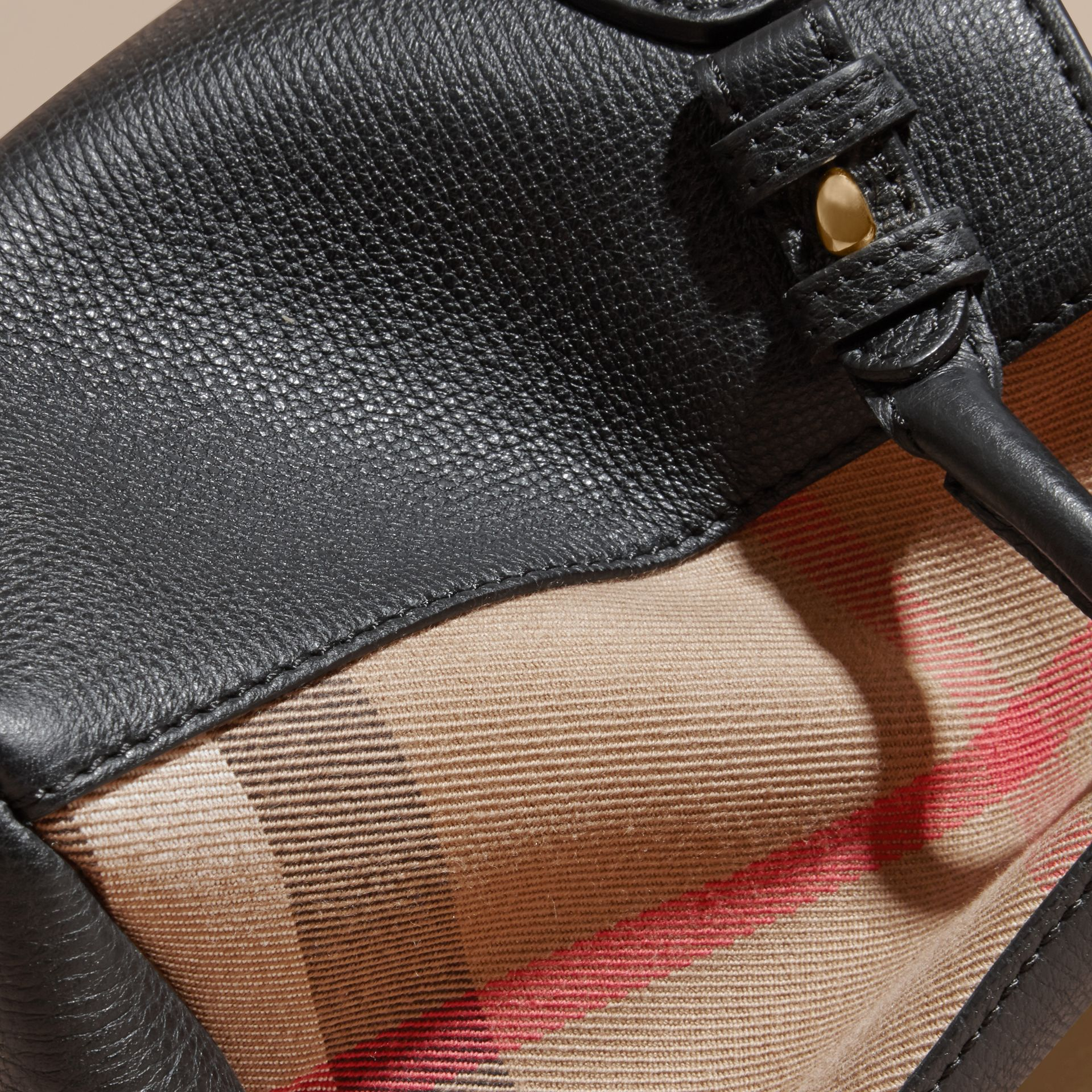 The Baby Banner in Leather and House Check in Black - Women | Burberry - gallery image 6