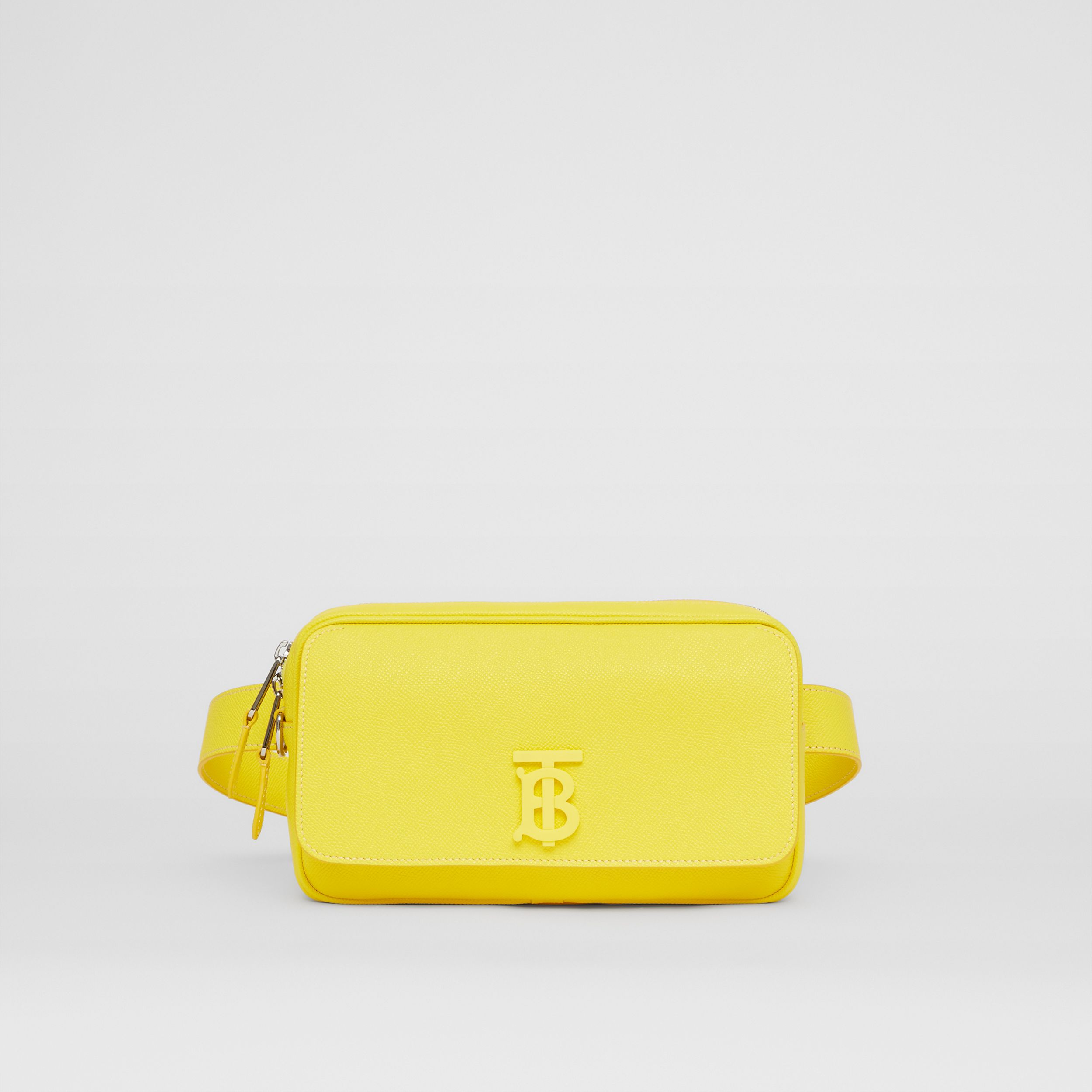 Monogram Motif Grainy Leather Bum Bag in Marigold Yellow - Men | Burberry - 1