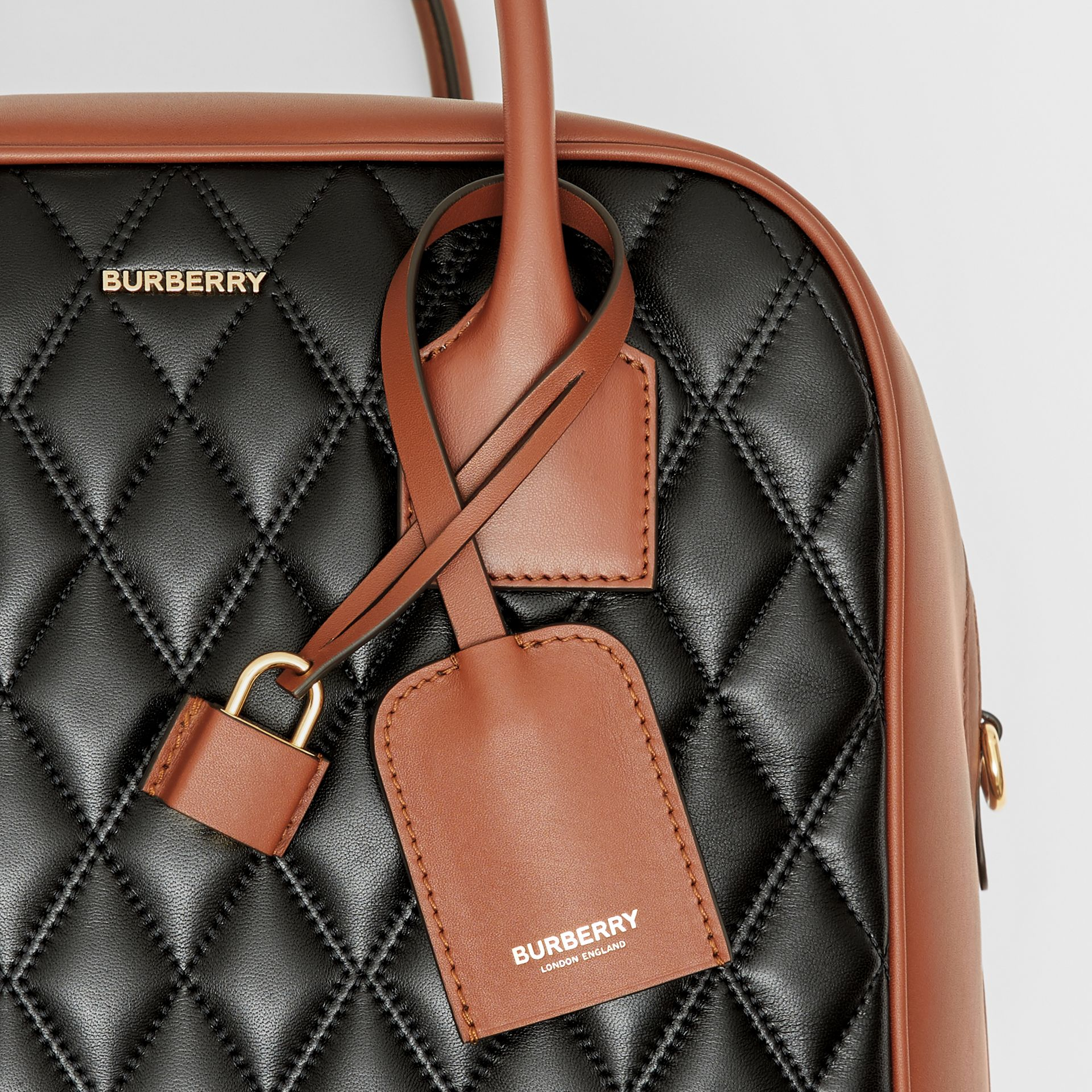Medium Quilted Lambskin Cube Bag in Black - Women | Burberry - gallery image 1