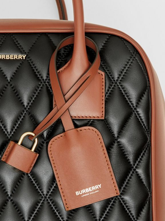 Medium Quilted Lambskin Cube Bag in Black - Women | Burberry - cell image 1