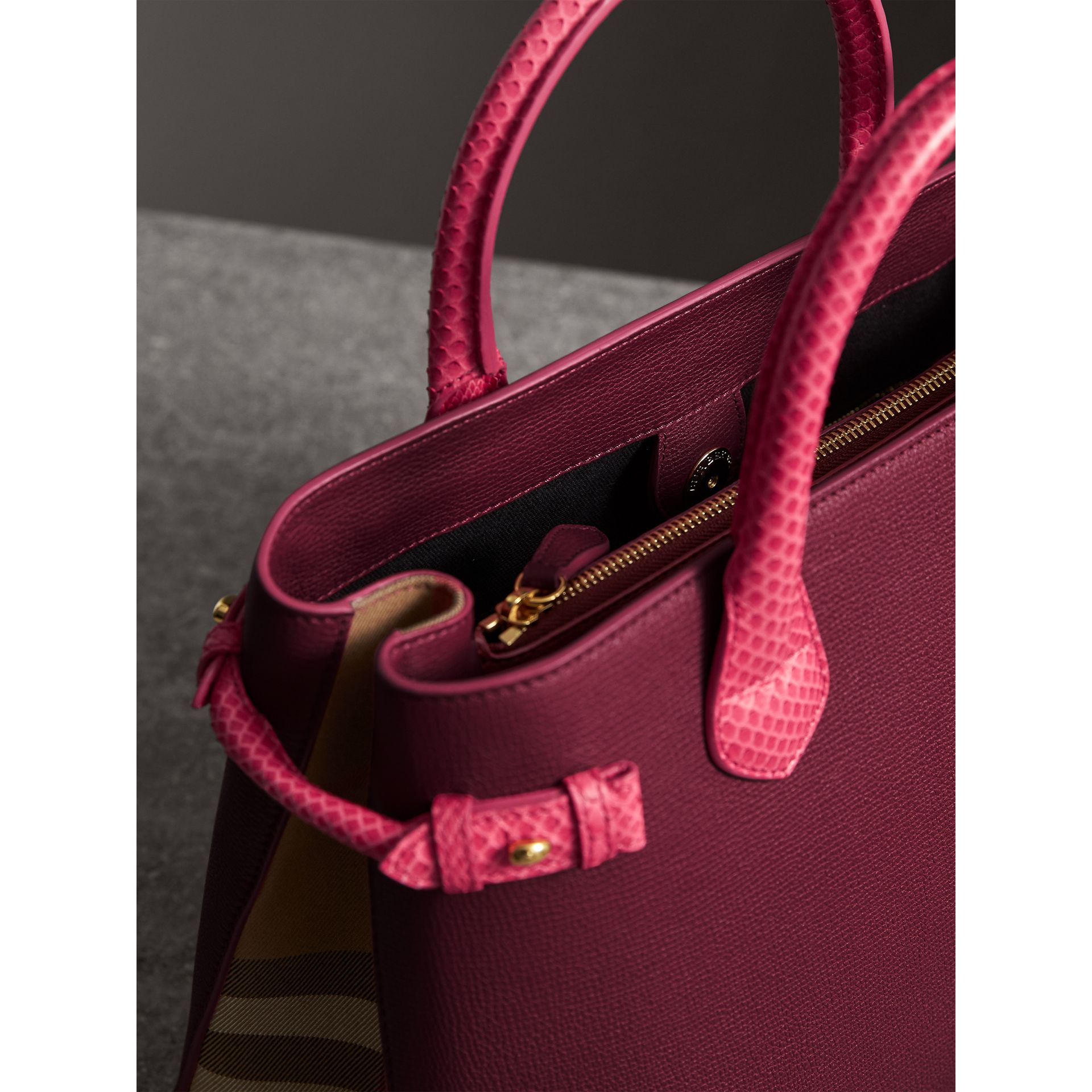 The Medium Banner in Leather and Snakeskin in Berry Pink - Women | Burberry Singapore - gallery image 5