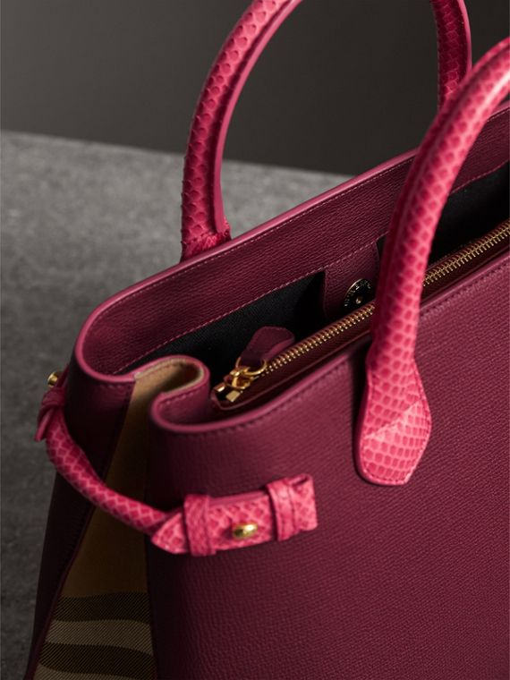 The Medium Banner in Leather and Snakeskin in Berry Pink - Women | Burberry - cell image 3