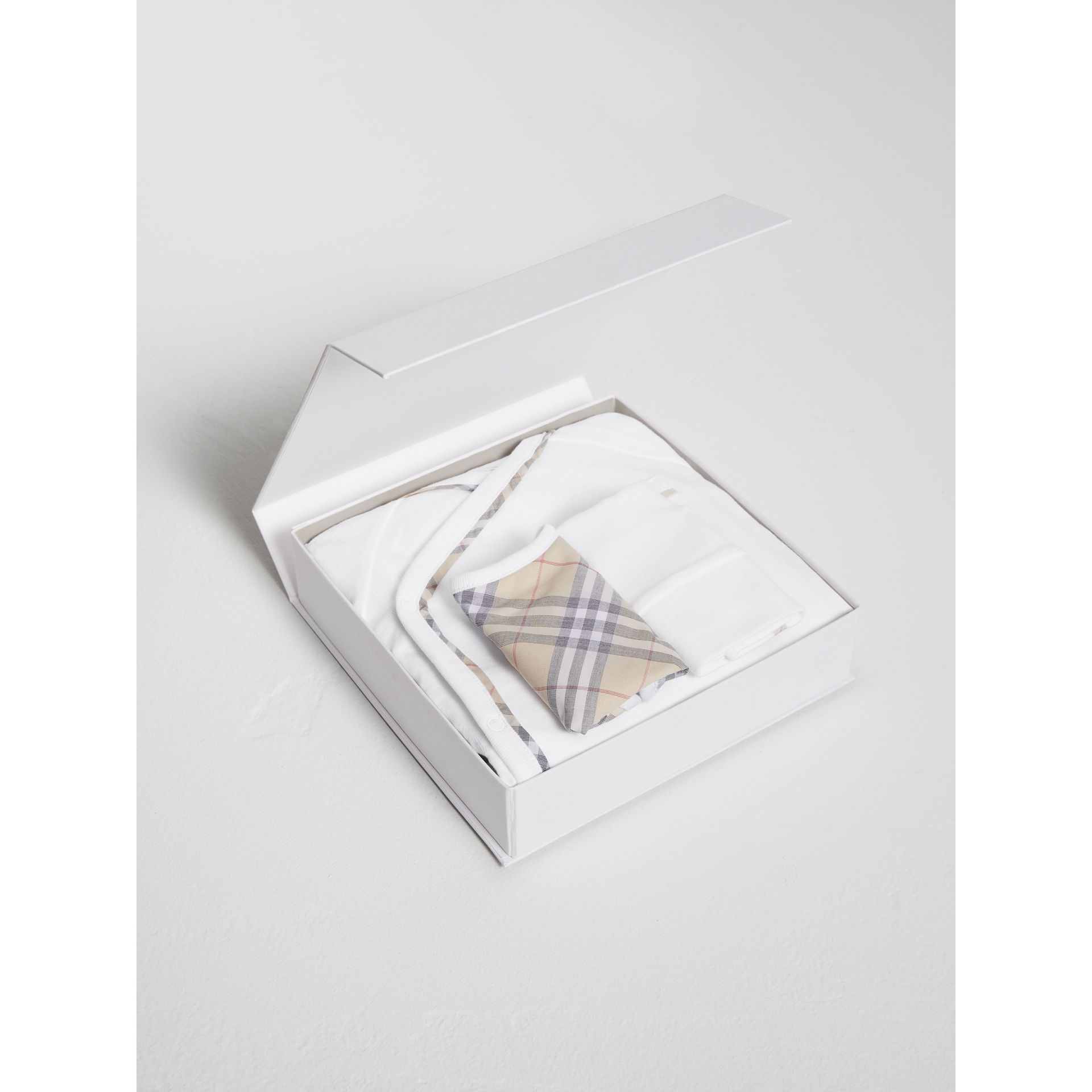 Check Cotton Three-piece Baby Gift Set in White | Burberry Australia - gallery image 2