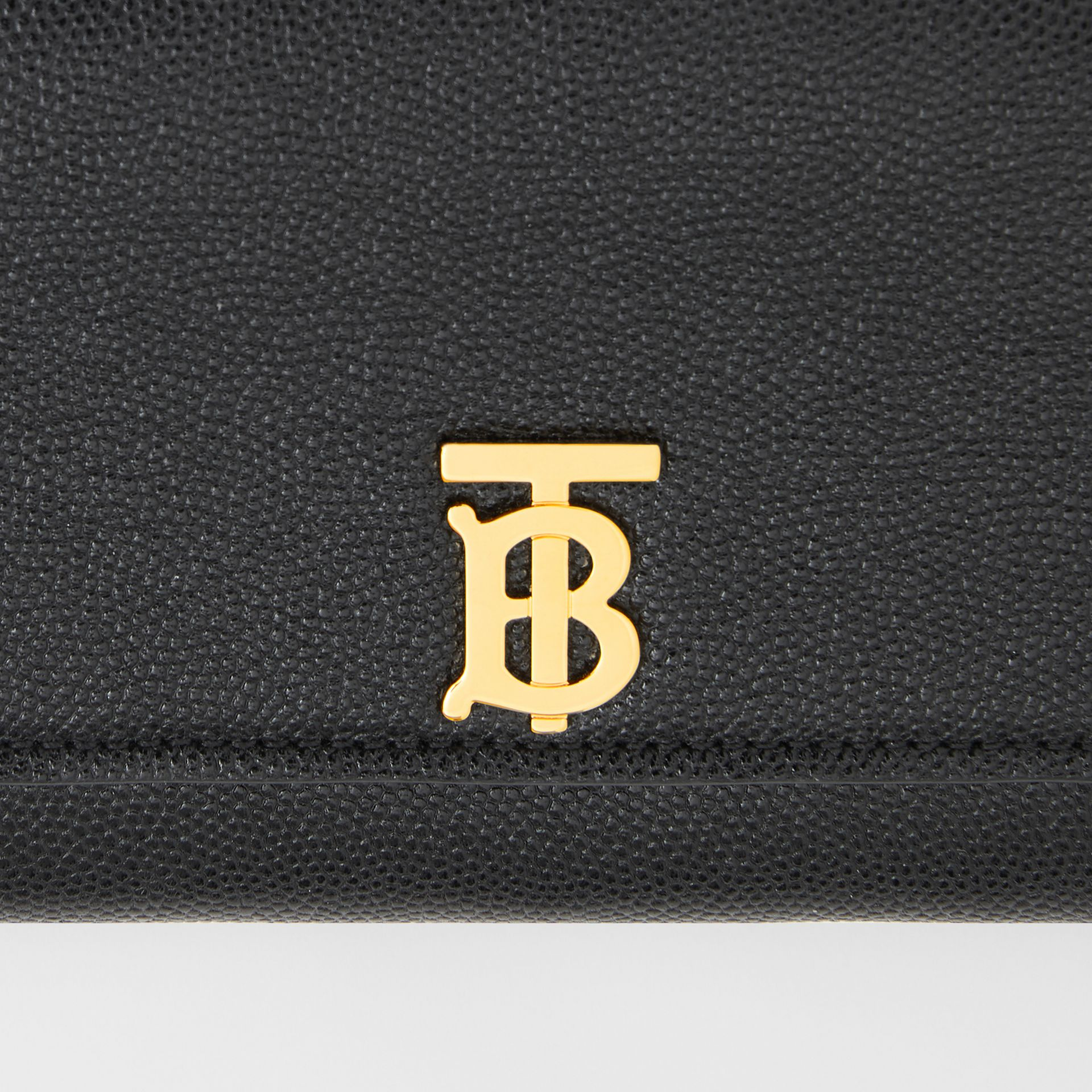 Monogram Motif Grainy Leather Continental Wallet in Black - Women | Burberry - gallery image 1
