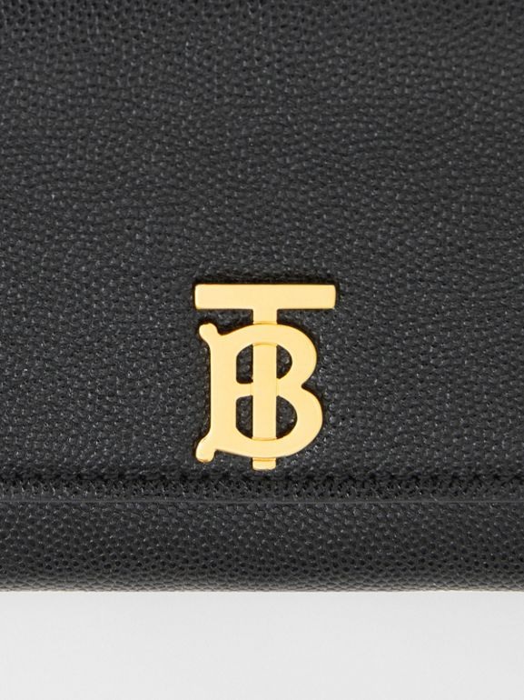 Monogram Motif Grainy Leather Continental Wallet in Black - Women | Burberry - cell image 1