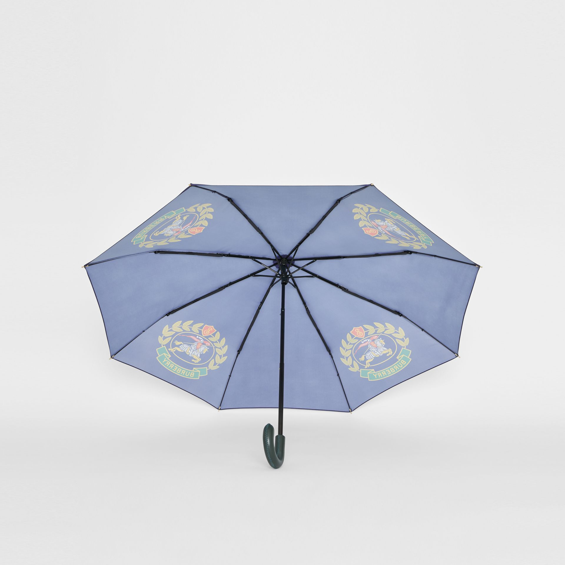 Crest Print Folding Umbrella in Navy | Burberry United Kingdom - gallery image 4