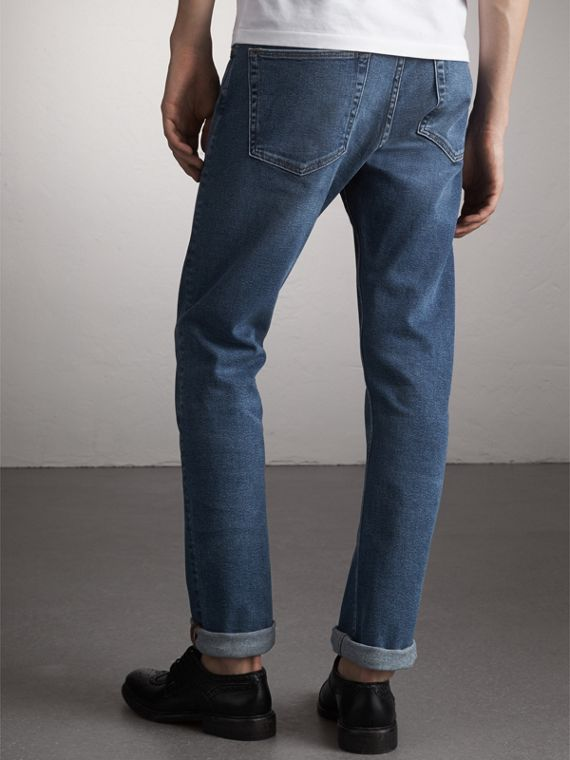 Straight Fit Stretch Japanese Denim Jeans in Mid Indigo - Men | Burberry Singapore - cell image 2