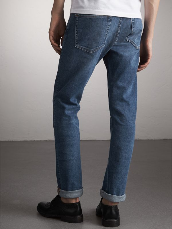 Straight Fit Stretch Japanese Denim Jeans in Mid Indigo - Men | Burberry - cell image 2