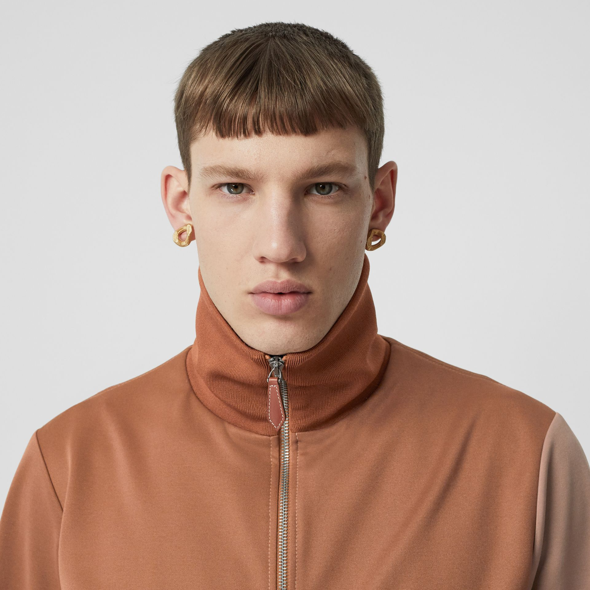Logo Graphic Colour Block Neoprene Track Top in Camel - Men | Burberry - gallery image 6