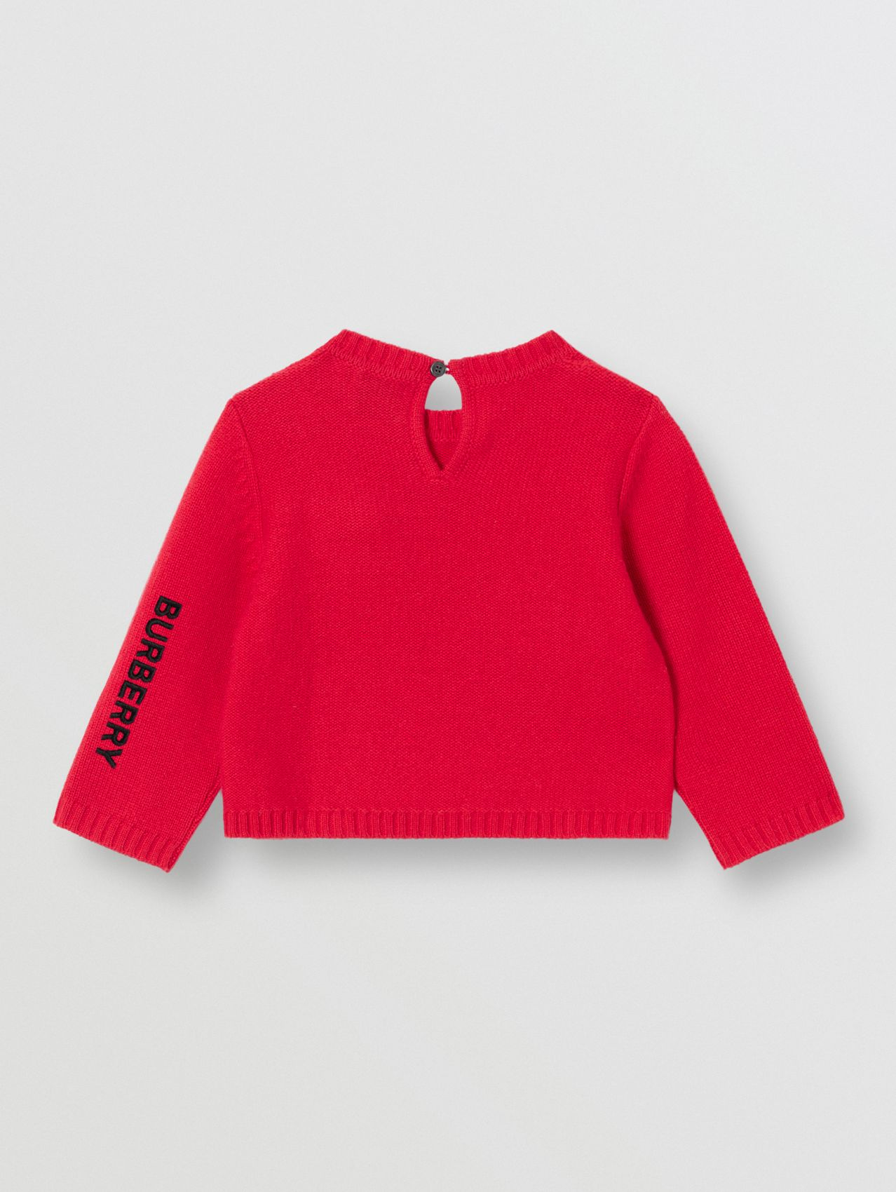 Thomas Bear Detail Wool Cashmere Sweater in Bright Red