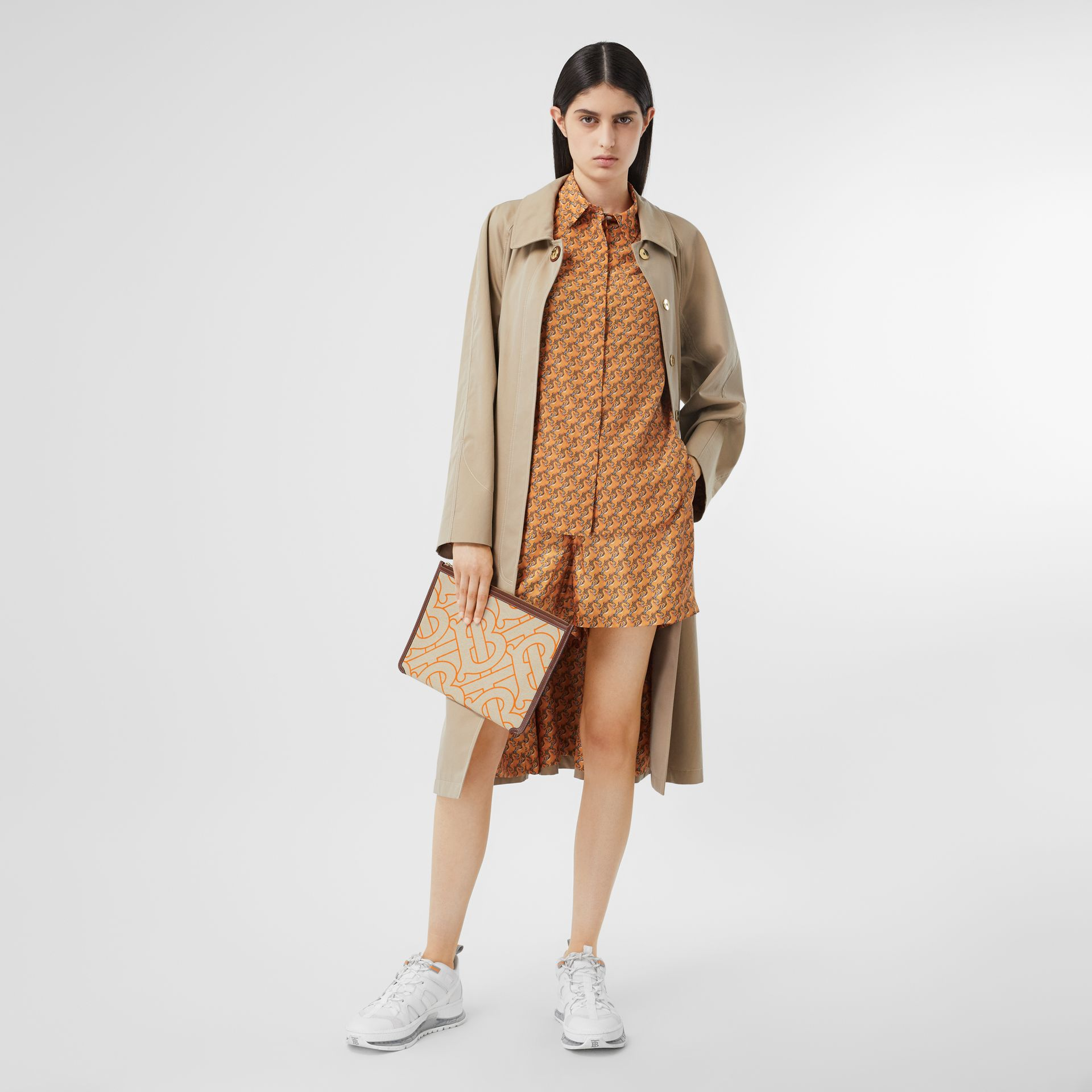 Monogram Motif Canvas and Leather Pouch in Natural/orange - Women | Burberry United Kingdom - gallery image 4
