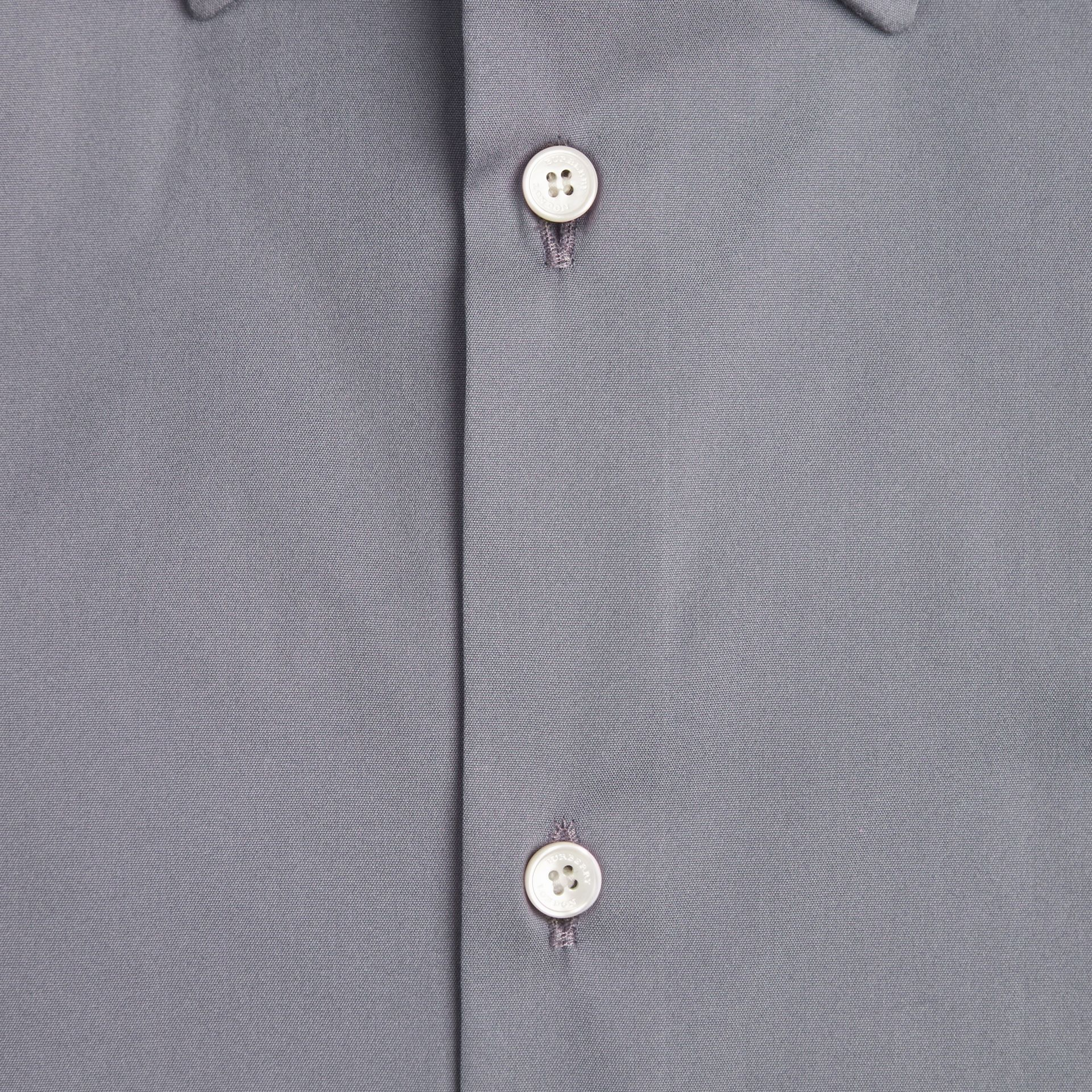 Modern Fit Stretch Cotton Shirt in City Grey - gallery image 2