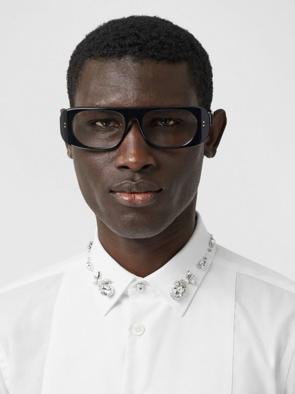 Slim Fit Embellished Cotton Poplin Shirt in White - Men | Burberry Hong Kong S.A.R - cell image 1