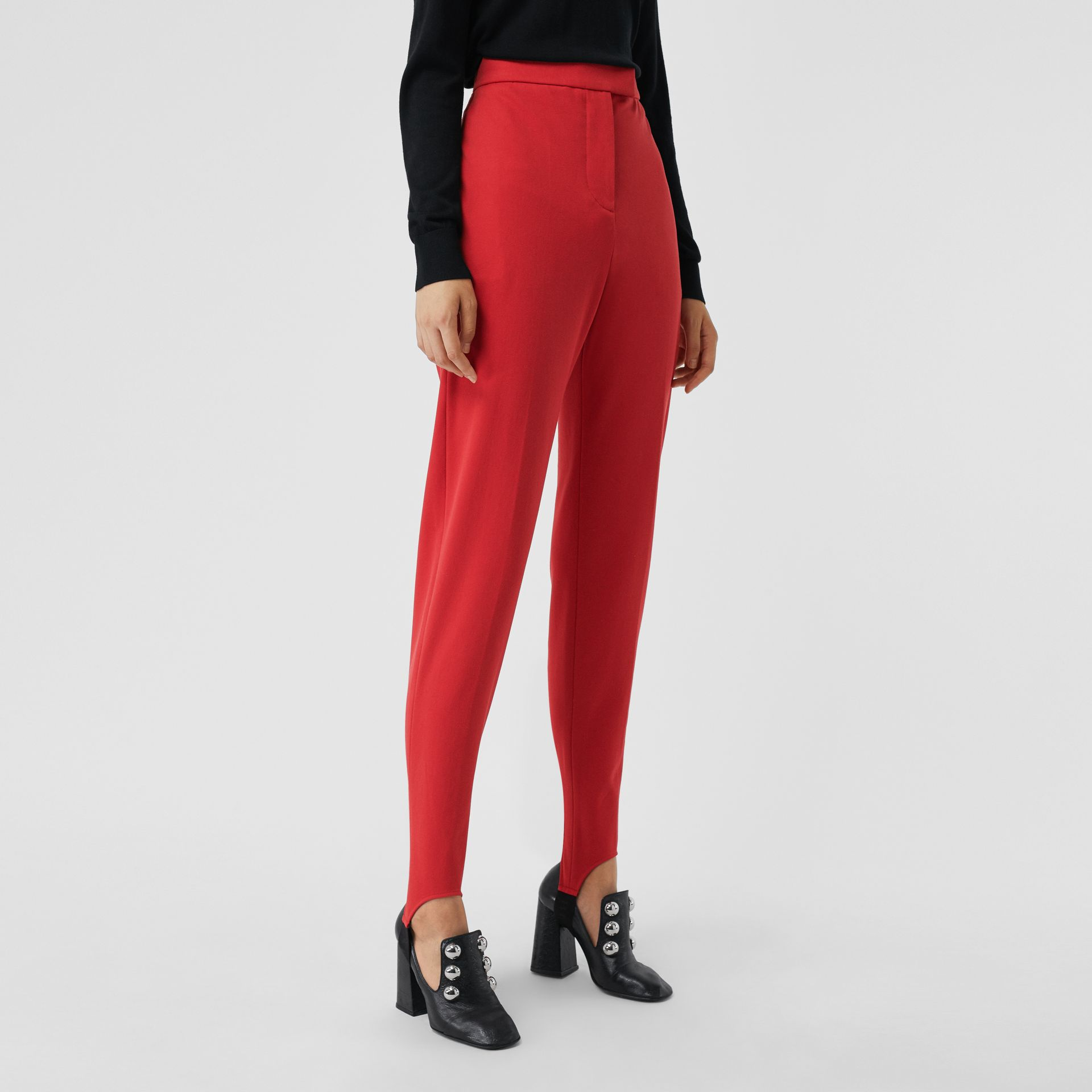 Long Cotton Blend Tailored Jodhpurs in Bright Red - Women | Burberry - gallery image 5