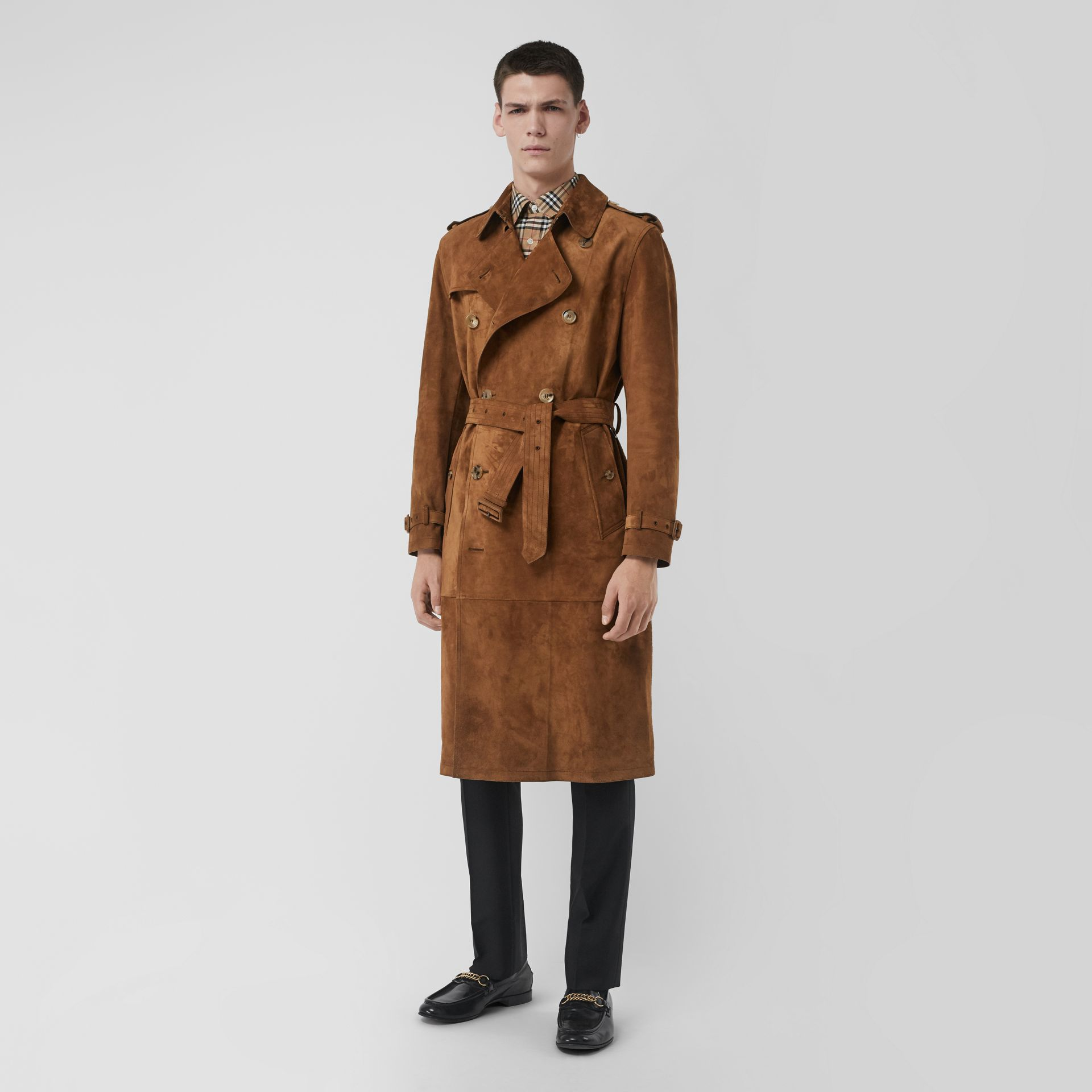 Suede Trench Coat in Sepia Brown - Men | Burberry Australia - gallery image 0
