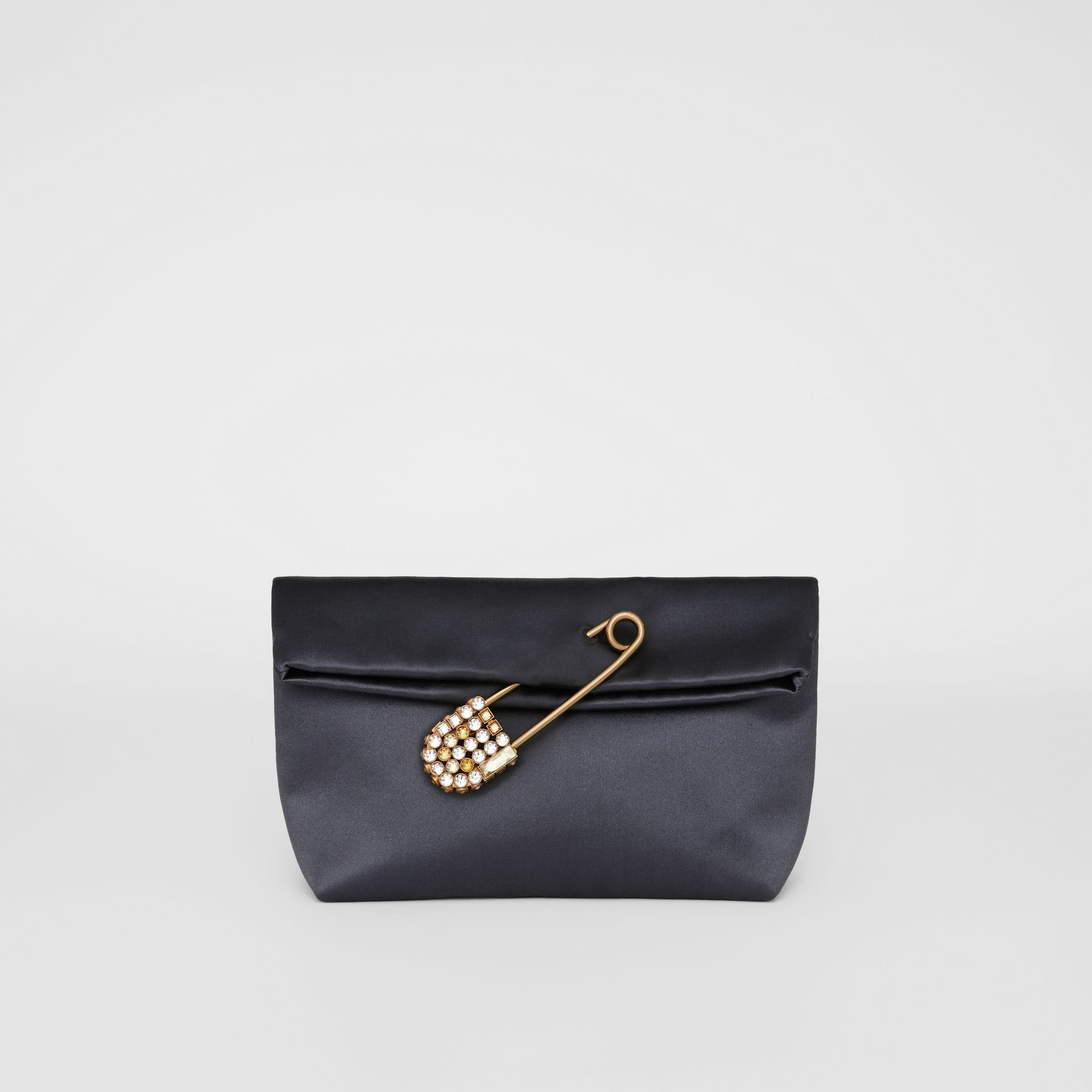 The Small Pin Clutch in Satin in Grey Blue - Women | Burberry United Kingdom - gallery image 2