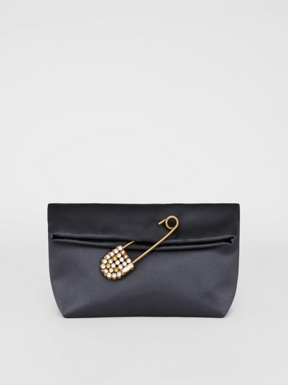 The Small Pin Clutch in Satin in Grey Blue