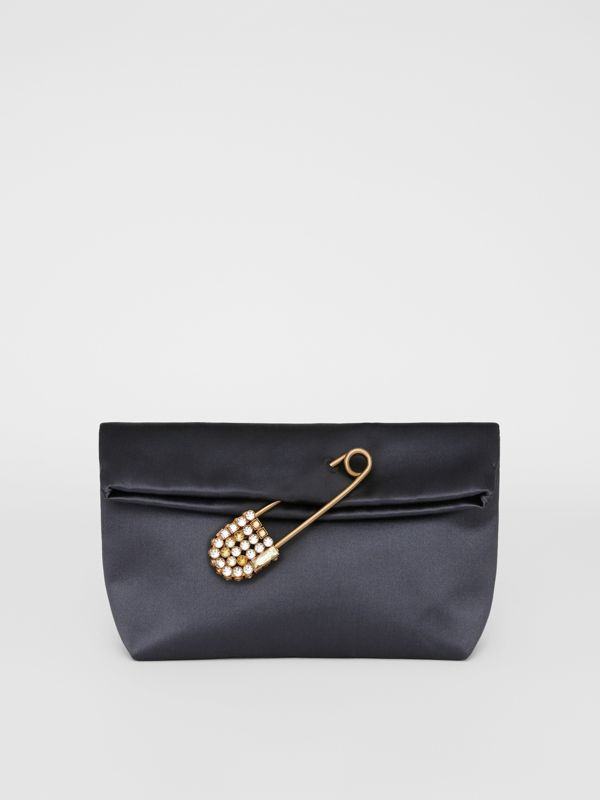The Small Pin Clutch in Satin in Grey Blue - Women | Burberry - cell image 2