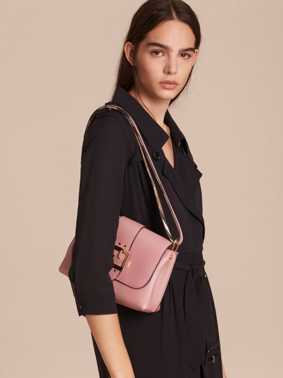 The Buckle Crossbody Bag in Leather in Dusty Pink - cell image 3
