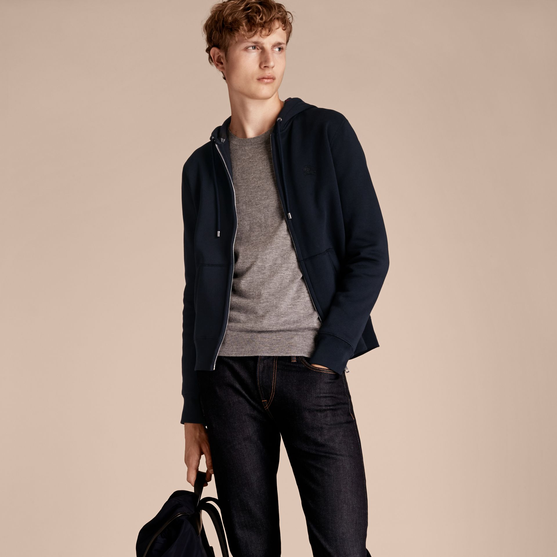 Hooded Cotton Jersey Top in Navy - Men | Burberry - gallery image 6