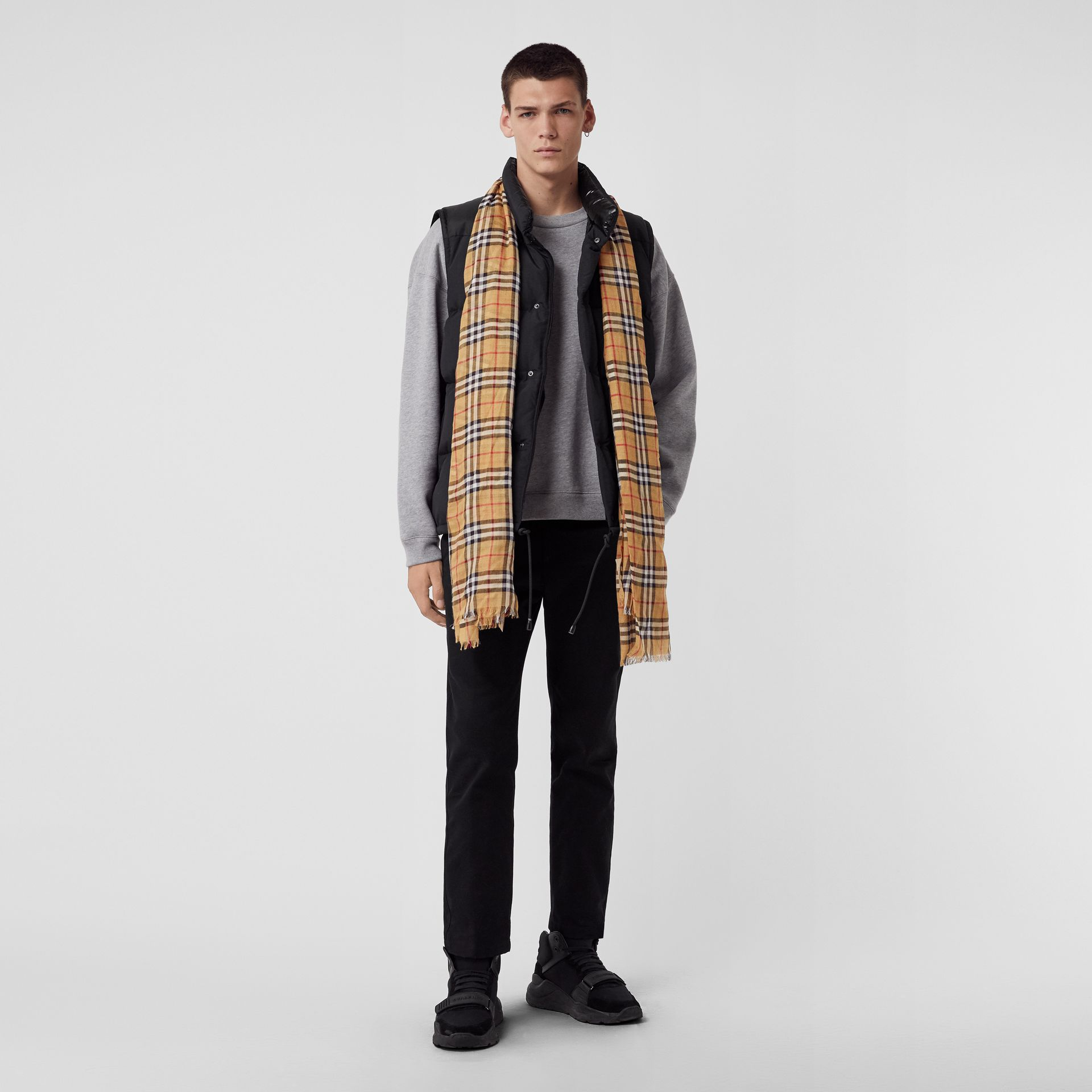 Vintage Check Lightweight Wool Silk Scarf in Antique Yellow | Burberry Singapore - gallery image 3