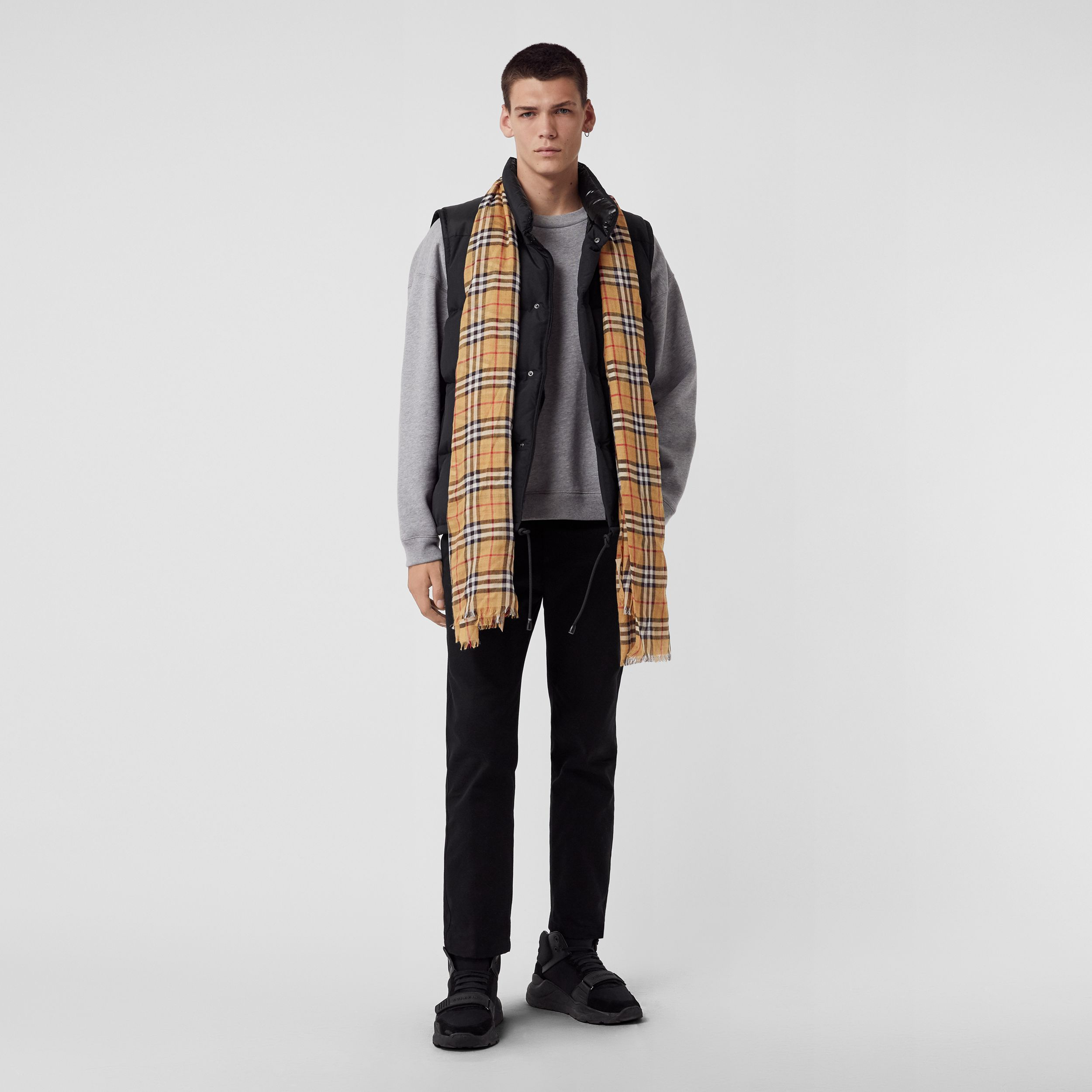 Vintage Check Lightweight Wool Silk Scarf in Antique Yellow | Burberry - 4