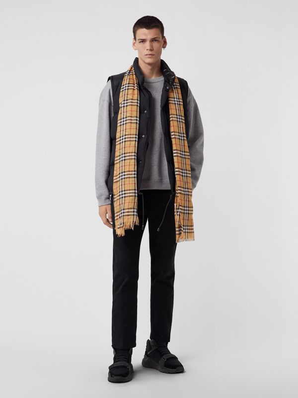 Vintage Check Lightweight Wool Silk Scarf in Antique Yellow | Burberry Singapore - cell image 3